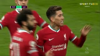 GOLO! Liverpool, Roberto Firmino aos 45'+4', Tottenham 0-1 Liverpool