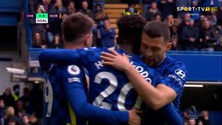 GOLO! Chelsea, M. Aarons (p.b.) aos 62', Chelsea 5-0 Norwich
