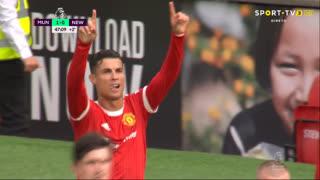 GOLO! Man. United, Cristiano Ronaldo aos 45'+2', Man. United 1-0 Newcastle