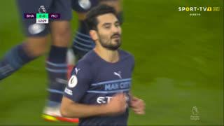 GOLO! Man. City, I. Gündogan aos 13', Brighton 0-1 Man. City