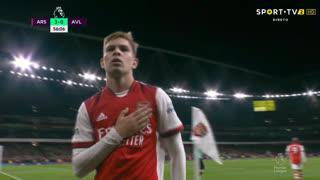 GOLO! Arsenal, E. Smith Rowe aos 56', Arsenal 3-0 Aston Villa