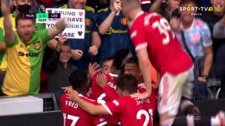 GOLO! Man. United, Bruno Fernandes aos 30', Man. United 1-0 Leeds United