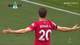 GOLO! Liverpool, Diogo Jota aos 18', Liverpool 1-0 Burnley