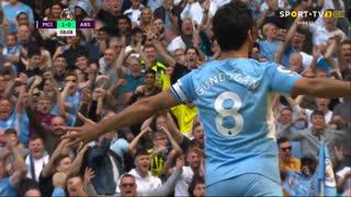 GOLO! Man. City, I. Gündogan aos 7', Man. City 1-0 Arsenal
