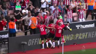 GOLO! Southampton, C. Adams aos 30', Southampton 1-0 Man. United