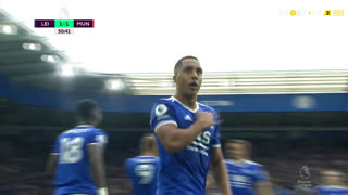 GOLO! Leicester City, Y. Tielemans aos 31', Leicester City 1-1 Man. United
