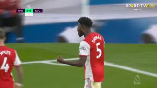GOLO! Arsenal, T. Partey aos 23', Arsenal 1-0 Aston Villa