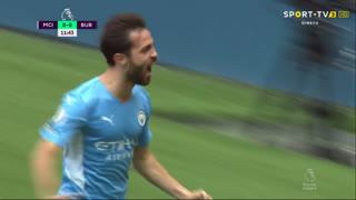 GOLO! Man. City, Bernardo Silva aos 12', Man. City 1-0 Burnley