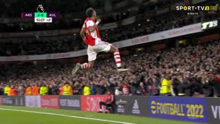 GOLO! Arsenal, P. Aubameyang aos 45'+6', Arsenal 2-0 Aston Villa