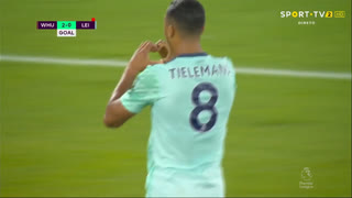 GOLO! Leicester City, Y. Tielemans aos 69', West Ham 2-1 Leicester City
