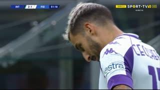 GOLO! Internazionale, F. Ceccherini (p.b.) aos 52', Internazionale 2-1 Fiorentina