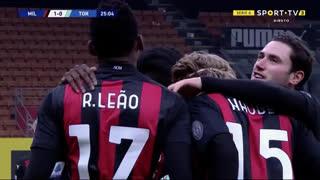 GOLO! Milan, Rafael Leão aos 25', Milan 1-0 Torino