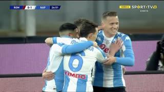 GOLO! Napoli, D. Mertens aos 27', Roma 0-1 Napoli