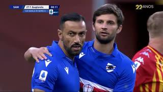 GOLO! Sampdoria, F. Quagliarella aos 8', Sampdoria 1-0 Benevento