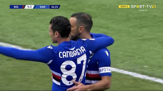 GOLO! Sampdoria, F. Quagliarella aos 37', Bologna 1-1 Sampdoria