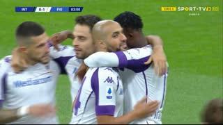 GOLO! Fiorentina, C. Kouamé aos 3', Internazionale 0-1 Fiorentina