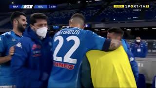 GOLO! Napoli, L. Insigne aos 76', Napoli 3-1 Bologna