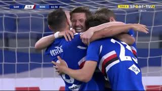 GOLO! Sampdoria, Adrien Silva aos 45', Sampdoria 1-0 Roma