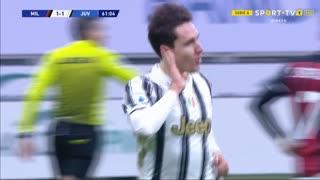 GOLO! Juventus, F. Chiesa aos 62', Milan 1-2 Juventus