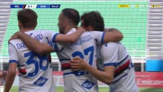 GOLO! Sampdoria, F. Quagliarella aos 57', Milan 0-1 Sampdoria