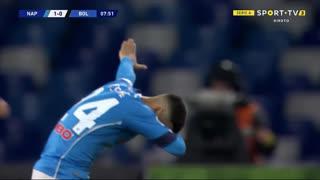 GOLO! Napoli, L. Insigne aos 8', Napoli 1-0 Bologna