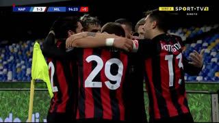 GOLO! Milan, J. Hauge aos 90'+5', Napoli 1-3 Milan