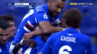 GOLO! Sampdoria, O. Colley aos 18', Sampdoria 2-0 Benevento