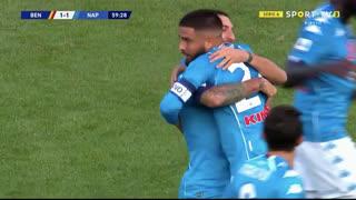 GOLO! Napoli, L. Insigne aos 60', Benevento 1-1 Napoli