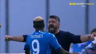 GOLO! Napoli, V. Osimhen aos 43', Napoli 4-0 Atalanta