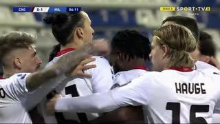 GOLO! Milan, Ibrahimovic aos 7', Cagliari 0-1 Milan