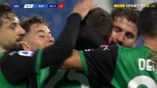 GOLO! Sassuolo, D. Berardi aos 45'+1', Sassuolo 2-1 Napoli