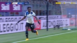 GOLO! Atalanta, D. Zapata aos 77', Milan 0-3 Atalanta