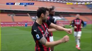 GOLO! Milan, H. Çalhanoğlu aos 30', Milan 1-0 Sassuolo