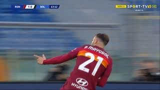 GOLO! Roma, Borja Mayoral aos 44', Roma 1-0 Bologna