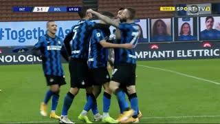 GOLO! Internazionale, A. Hakimi aos 70', Internazionale 3-1 Bologna