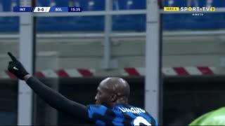 GOLO! Internazionale, R. Lukaku aos 16', Internazionale 1-0 Bologna