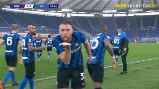 GOLO! Internazionale, M. Škriniar aos 56', Roma 1-1 Internazionale