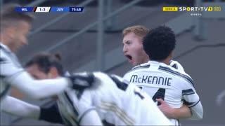 GOLO! Juventus, W. McKennie aos 76', Milan 1-3 Juventus