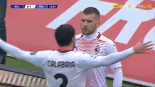 GOLO! Milan, A. Rebić aos 26', Bologna 0-1 Milan