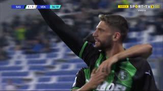 GOLO! Sassuolo, D. Berardi aos 37', Sassuolo 1-1 Venezia