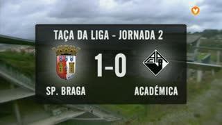 Taça da Liga (Fase 3 - Jornada 2): Resumo SC Braga 1-0 A. Académica