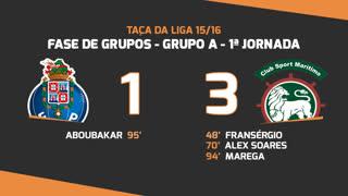 Taça da Liga (Fase 3 - Jornada 1): Resumo FC Porto 1-3 Marítimo M.