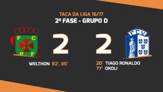 Taça da Liga (Fase 3 - Jornada 3): Resumo FC P.Ferreira 2-2 Vizela