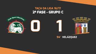 Taça da Liga (Fase 3 - Jornada 3): Resumo Marítimo M. 0-1 SC Braga