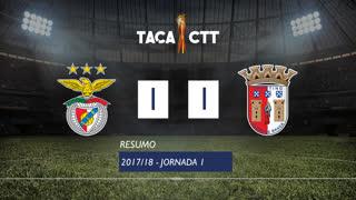 Taça da Liga (Fase 3 - Jornada 1): Resumo SL Benfica 1-1 SC Braga