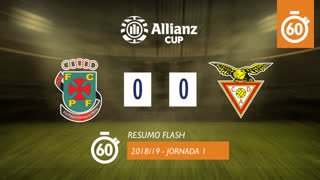Allianz Cup (Fase 3 - Jornada 1): Resumo Flash FC P.Ferreira 0-0 CD Aves