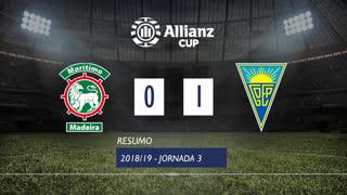 Allianz Cup (Fase 3 - Jornada 3): Resumo Marítimo M. 0-1 Estoril Praia