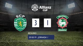 Taça da Liga (Fase 3 - Jornada 1): Resumo Sporting CP 3-1 Marítimo M.