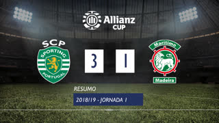 Allianz Cup (Fase 3 - Jornada 1): Resumo Sporting CP 3-1 Marítimo M.