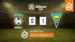 Allianz Cup (Fase 3 - Jornada 3): Resumo Flash Marítimo M. 0-1 Estoril Praia